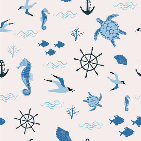 Seamless vector pattern with sea elements - seagall, fish, seahorse, steering wheel, shell, anchor Banco de Imagens - 153122481
