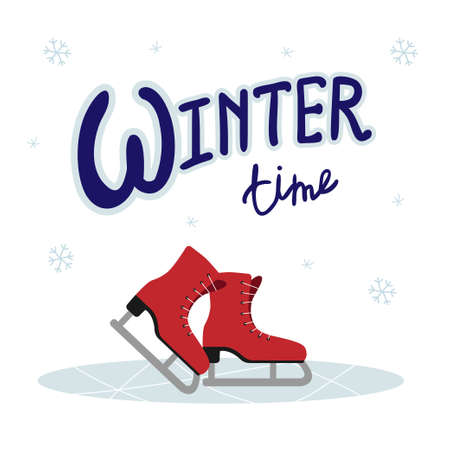 Lettering Winter Time with red ice skates and snowflakes. Skates on the ice. Winter time.