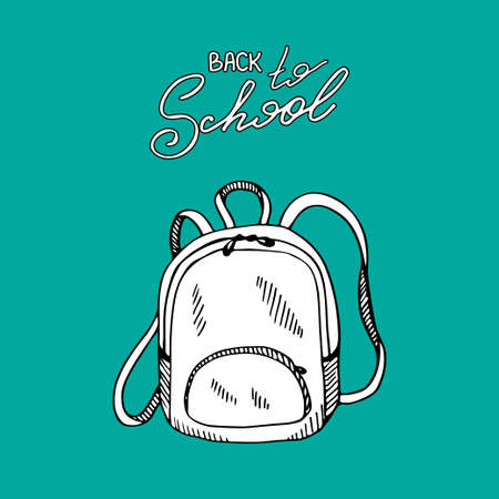 Backpack with lettering Back to school. Hand drawn black and white illustration.