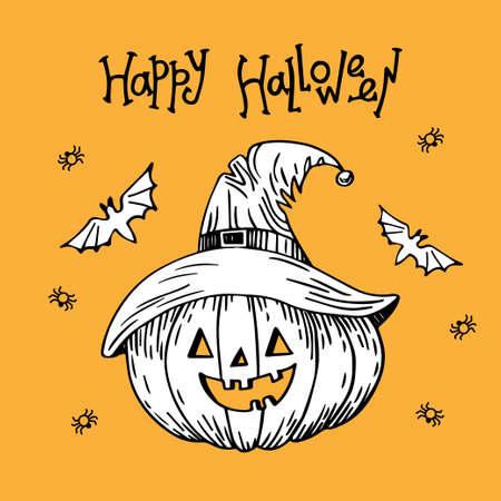 Illustration of halloween pumpkin. Pumpkin on orange background. Lettering Happy Halloween. Hand drawn illustration. Ilustração