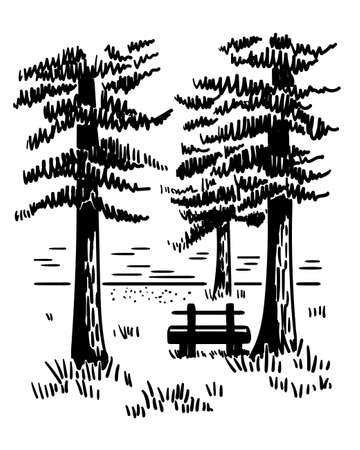 Hand drawn vector landscape with pines, lake and wooden bench. Monochrome sketch. Banco de Imagens - 153364077