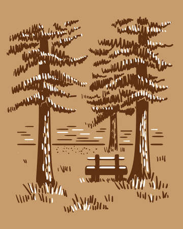 Hand drawn vector landscape with pines, lake and wooden bench. Sketch in craft style . Vettoriali