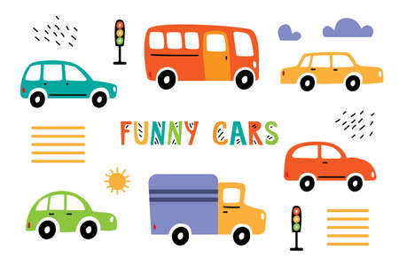 Collection funny colorful cars on a white background. Street with cars, traffic lights, pedestrian crossing and lettering Funny cars.