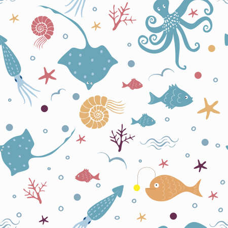Seamless vector pattern with sea elements - octopus, fish, squid, stingray, shell, coral Ilustração
