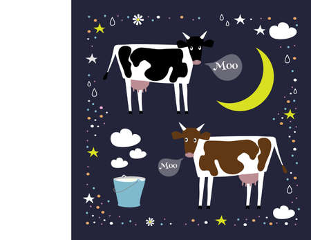 Two vector cows in simple style on a dark background. Milk in a bucket. Cow collection