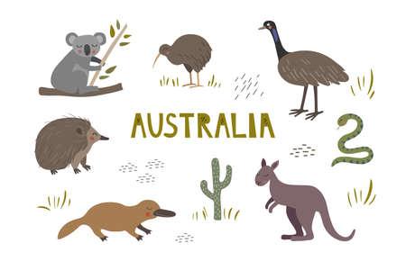 Cute hand drawn set with australian animals. Kangaroo, koala and platypus. Kiwi, echidna and ostrich.