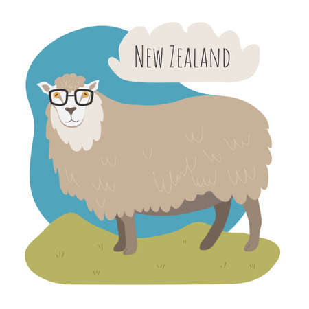 Fashion sheep with glasses in a green meadow. New zealand animals.
