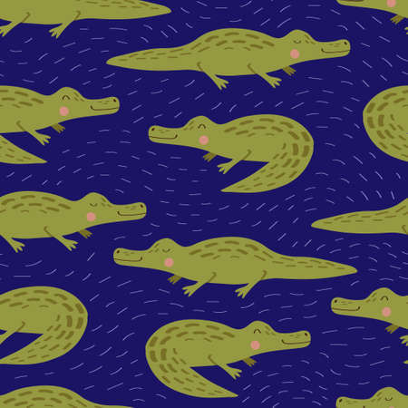 Seamless vector pattern with crocodiles on a blue background. Cute crocodiles, illustration for the children. Pattern for fabric or paper. Ilustração