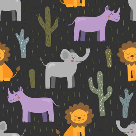 Seamless vector pattern with a lion, rhino and elephant on a dark background. Cute animals, illustration for the children. Ilustração