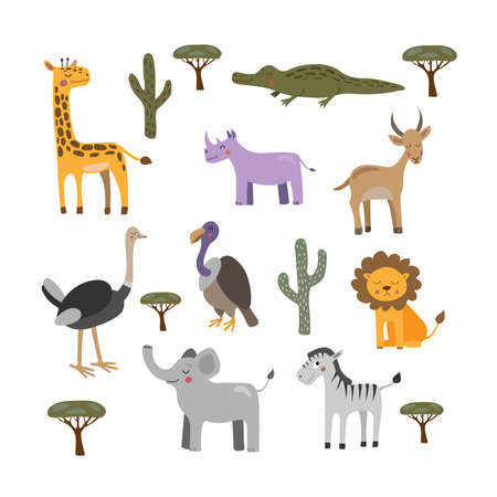 Vector collection with african animals. Illustration with cute animals for children. Elephant, giraffe, lion, zebra and crocodile.