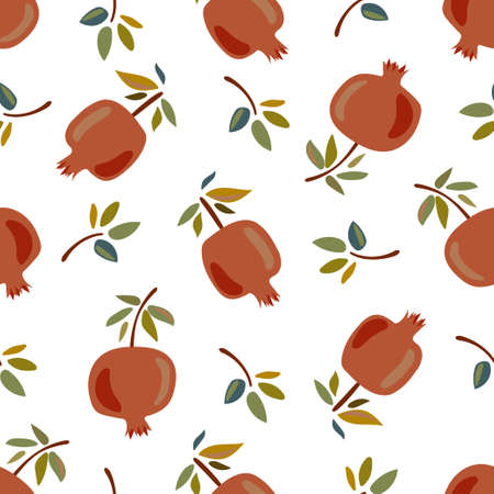 Seamless pattern with pomegranates on a white background. Pattern with fruits. Pattern for the kitchen. Pattern for fabric or paper. Banco de Imagens - 153450900