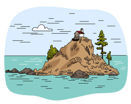 House and trees on a rock in the sea. Island in the middle of the sea. Ilustração
