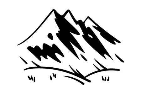 Hand drawn vector mountain landscape. Monochrome landscape.