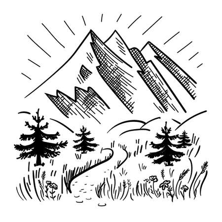 Hand drawn mountain landscape with road, spruces and grass. Monochrome landscape.