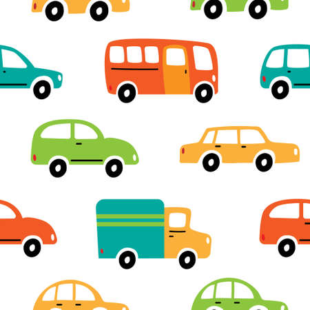 Seamless vector pattern with colorful cars on a white background. Bus, cars and truck driving on the road.