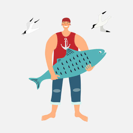 The sailor stands with a large blue fish in his hands. Ilustração