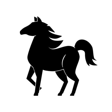 Black silhouette of a horse on a white background. The horse is standing, the mane flutters. Monochrome horse.