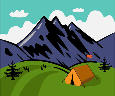 Hand drawn vector mountain landscape. Yellow tent in the mountains. Mountain camping.