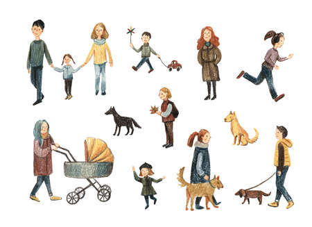 Set of people with colored pencils. Autumn walks. People are walking. People with dogs.