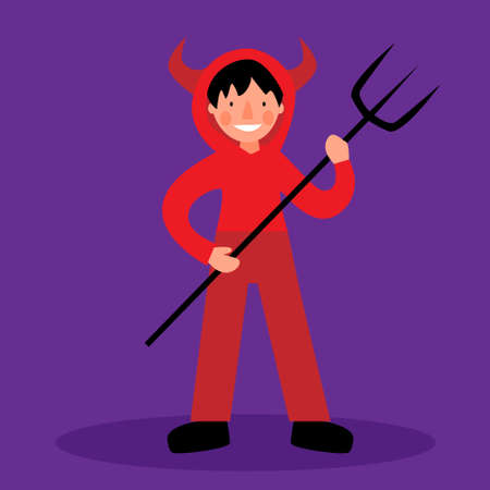 A child in a devil costume. Children costumes for Halloween. A boy in a red suit stands with a trident.
