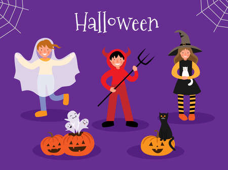 Set of children in halloween costumes. Halloween pumpkins, ghosts and a cat.