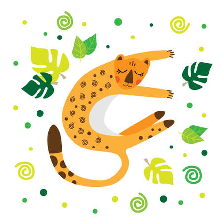 A leopard in a cartoon style lies in a clearing. Leopard on a white background with leaves. African animals. Ilustração