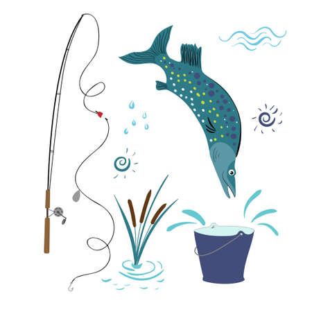 Vector set for fishing with a fishing rod, reeds, big fish and a bucket. The pike is jumping into the bucket. Banco de Imagens - 154846174