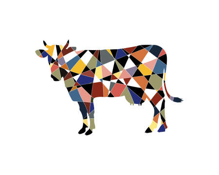 cow in graphic style. Mosaic style cow made of black and colored pieces.