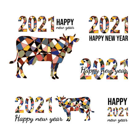 Happy new year 2021 with mosaic cow and numerals. Chinese horoscope sign bull. Mosaic style cow made of black and colored pieces.