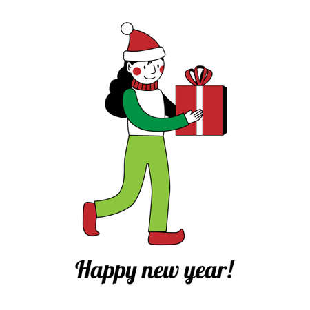 Christmas elf is carries a gift. Happy new year card. A girl in a red cap with a big present.
