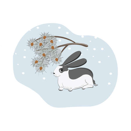 Cute rabbit in oriental style with a pine branch on a blue background. White hare with gray spots. Winter scene with rabbit and snow.