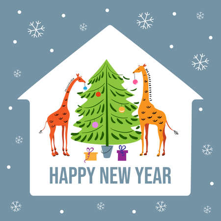 Two giraffes are decorating a Christmas tree. New Year card. Banco de Imagens - 154767467