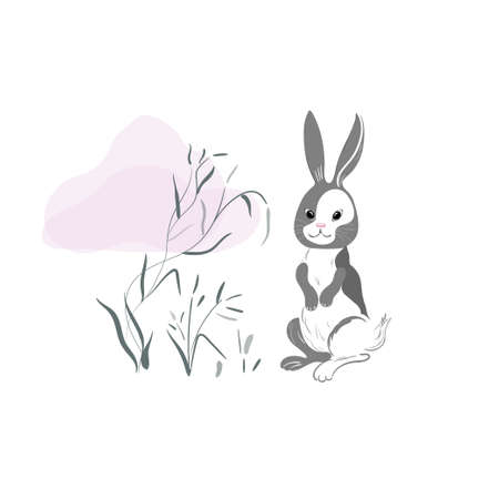Cute rabbit in oriental style with a grass and pink cloud on a white background. White hare with gray spots.