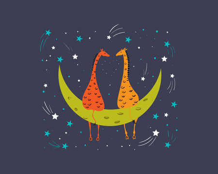 Two giraffes in love are sitting on the moon at night. Starfall and comets. Ilustração