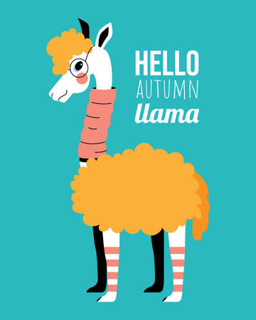 Fashionable llama in glasses and a pink scarf on a blue background. Autumn llama.