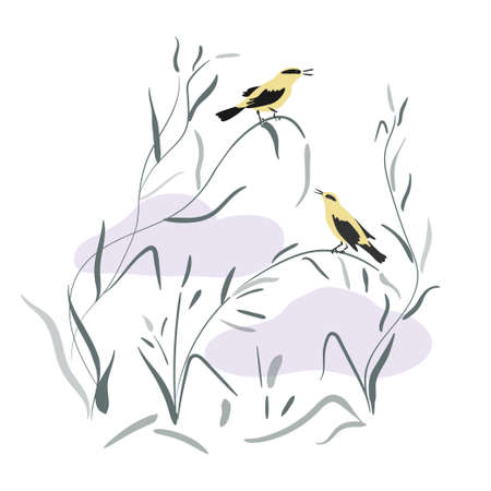 Two orioles in japanese style are sitting on the grass. Yellow birds perched on branches