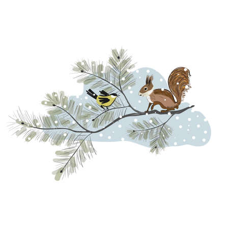 Squirrel and tomtit in japanese style are sitting on the pine tree. Yellow birds perched on branches Banco de Imagens - 155186828