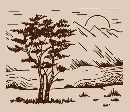 Hand drawn landscape with tree, mountain and sun. Monochrome landscape. Banco de Imagens - 155186924