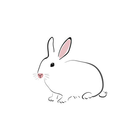 White rabbit in japanese style on a white background. Bunny in simple style. Animal sketch. Ilustração