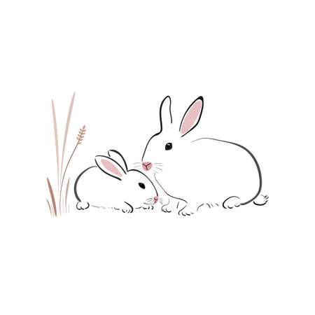White rabbit with cub in japanese style on a white background. Bunny in simple style. Animal sketch. Banco de Imagens - 155186996