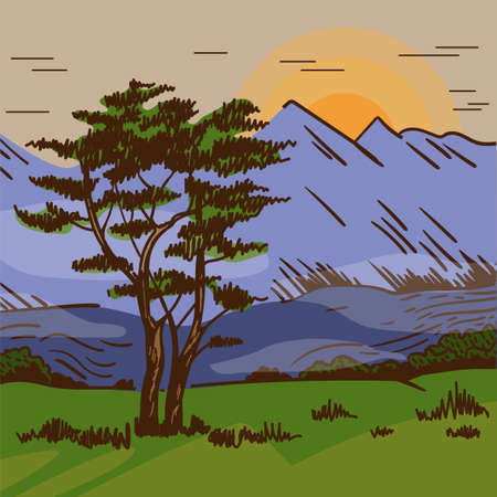 Hand drawn landscape with sunrise, tree, mountain. African nature.