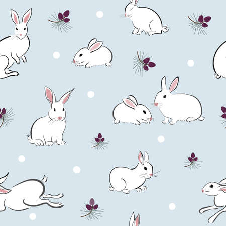 Seamless pattern with cute rabbit in oriental style with a pine cone on a blue background. Winter scene with hare and snow.