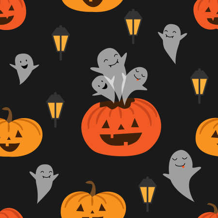 Seamless vector pattern with pumpkins, lantern and ghosts.
