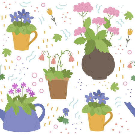 Seamless vector pattern of flowers in different containers. Flowers in pots, tea pots, cup and a jug. Ilustração
