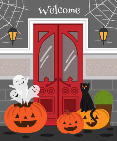 Halloween Poster with red front door. Three ghosts fly out of the pumpkin. The cat is sitting on a pumpkin.