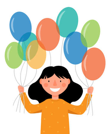 The girl is holding colorful balloons. Holiday scene, birthday. Ilustração