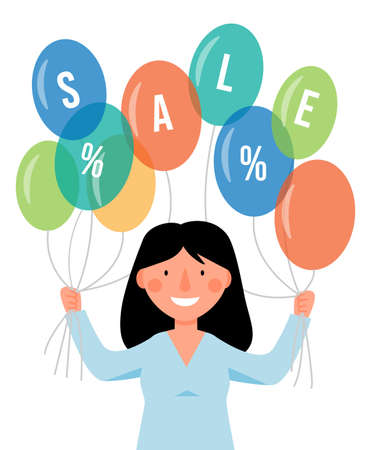 The women is holding colorful balloons. Holiday scene, sale, discount.