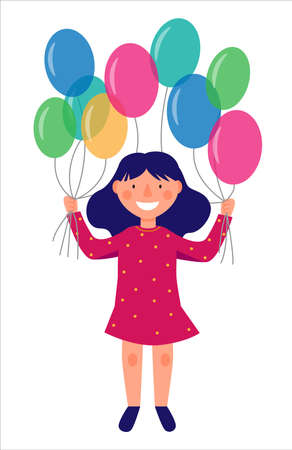 The girl in full growth is holding colorful balloons. Holiday scene, birthday.
