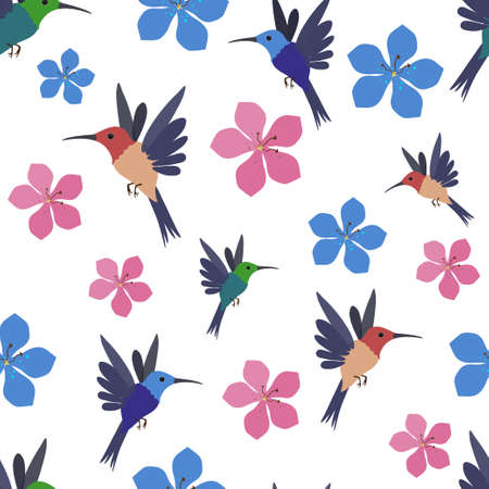Seamless vector pattern with colored hummingbirds and flowers. Ilustração