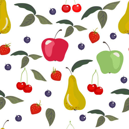 Seamless vector pattern with different fruits and berries.